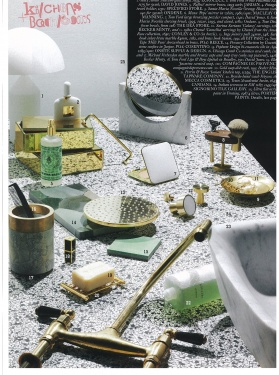 VOGUE Living - March/April 2017 - Michael Verheyden marble and bronze cups and soap tray, DW gol soap dish rack