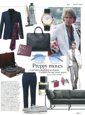 Belle - October 2015 - Son of a Master Tailor Tie, GPO Attache turntable, Pink Mother of Pearl Cufflinks