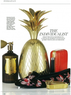 Marie Claire Gift Guide - Vintage Brass Pineapple, Cire Trudon Room Spray - December 2012